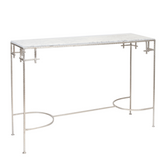 Worlds Away Marcy Silver Leaf Console with White Marble Top