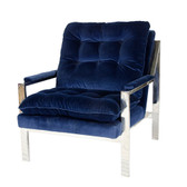 Worlds Away Cameron Chair-Navy