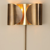 """Global Views Folded Sconce--Antique Brass/Brass Dimensions: 15""""W x 8.5""""H x 4""""D Holds two 60W candelabra bulbs 36"""" brass cord cover, 8' clear gold cord; the switch is on the cord Hangs on two keyholes"""