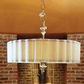 "Global Views Fluted Pendant Enormous Dimensions: 46""DIA x 36""H *Oversized Item, White Glove Delivery, Crated Holds eight 60W candelabra bulbs Includes 16"" decorative chain Round fluted drum hardback shade with; white faux silk trim and silver braid Polished nickel canopy Polished nickel finish The Enormous Fluted pendant has a fabric covered diffuser on the bottom. All other size pendants have perforated metal diffusers."