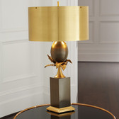 """Global Views Egg and Palm Lamp--Brass/Bronze Dimensions: 17.75""""DIA x 36.5""""H Holds two 60W """"A"""" lamp bulbs 8' clear silver cord, Two pull chains at socket Metal drum shade Brass with natural and bronze finish"""