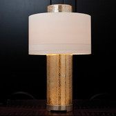 "Global Views Lighthouse Lamp Dimensions: 20""DIA x 33.5""H Holds two 100W ""A"" lamp bulbs in top sockets Holds a 7W candelabra bulb in base 8' clear silver cord, 3-way switch on base Hardback shade covered in ivory silk Hand-blown antique mercury glass body and finial Polished nickel hardware and base"