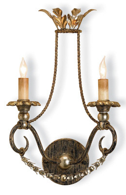 Currey & Co Anise Wall Sonce Dimensions: 11w x 17h x 6d Materials: wrought iron/composite Graceful curves become even more striking with Barcelona Gold Leaf and Silver Leaf embellishment. Wall sconces are sold as pin-ups which allows them to be either hard wired or plugged in.