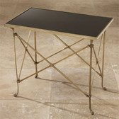 Global Views Rectangle Directoire Table Brass with Black Granite