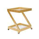 Worlds Away Lenox Gold Leaf Bar Cart