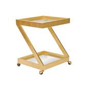Worlds Away Lenox Gold Leaf Bar Cart