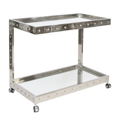 Worlds Away Vince Polished Stainless Steel Bar Cart