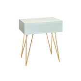 Ice glass Debra night stand with gold hairpin legs by Worlds Away.