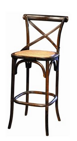 Bentwood Parisian style bar stool in chocolate brown. The seat is padded with a woven rattan cover. By Furniture Classics Ltd.