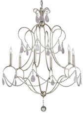 Six light Delamere chandelier in silver granello finish by Currey and Company.