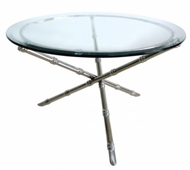 SILVER COLORED, NICKEL PLATED BAMBOO TABLE BASE