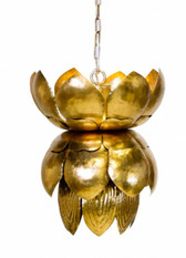 Gold leaf tin Blossom chandelier with leaves by Worlds Away.