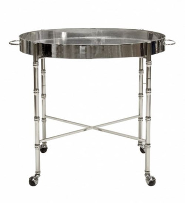 Brighton bamboo and metal plated bar cart by Worlds Away. Silver colored with antique mirror tray and bottom.