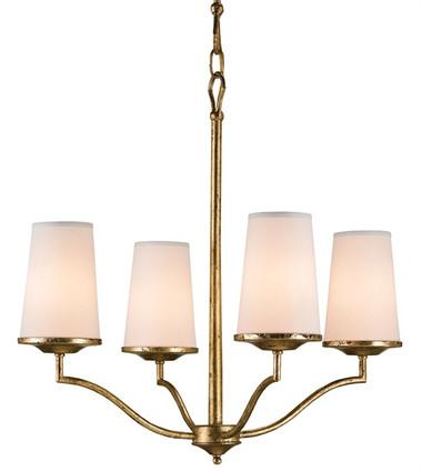 Gilt bronze candelabra Howard chandelier four linen shade 60 watt light fixture by Currey & and Company