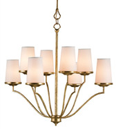 Gilt bronze candelabra Howard chandelier by Currey & and Co. Company Eight 8 60 watt bulbs with white linen shades and a unique rod style hanger provide warm lighting