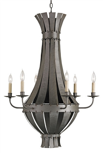 Leopold II Candelabra Chandelier by Currey and & Co. Company in Hiroshi Gray six 6 light fixture stylish and daring modern yet traditional 6' hanging chain