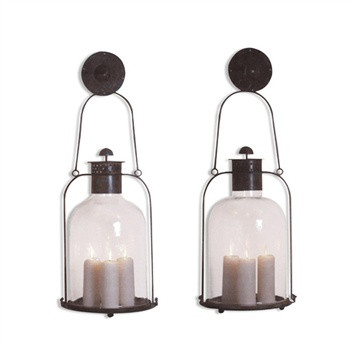Over-sized Weather Oxidized brass Wall mounted Hurricane Lanterns,sold in pairs 52401