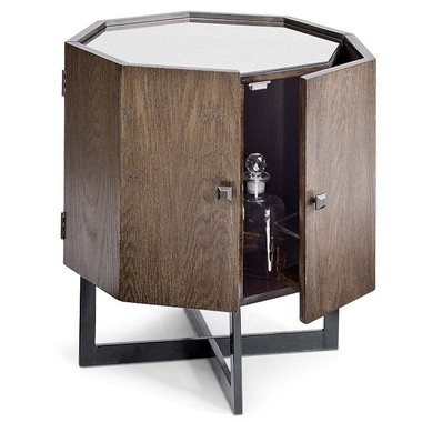glass top, octagonal shaped table, opens up as an incredibly sophisticated mini bar.