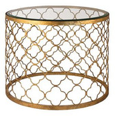 Regina Andrew Gold Leaf Beveled Glass Top Table