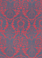 Anna Damask Fabric in Rouge / Prussian Blue
