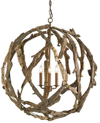 Currey & Company Driftwood Orb Chandelier