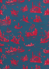 Alessandra Branca Coromandel Fabric in Prussian Blue / Rouge