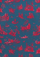Alessandra Branca Coromandel Fabric in Prussian Blue / Rouge