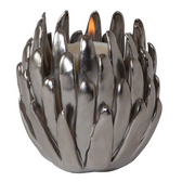 Chrysanthemum T-Lite Holder-Matte Chrome