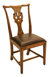 SIDE CHAIR-LEATHER SEAT-HONEY OAK