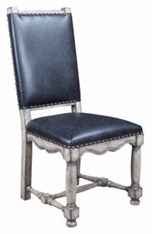 JACOBEAN SIDE CHAIR-BLACK LEATHER SEAT-RUSTIC GREY