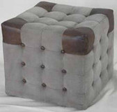 Accessories Abroad Watkins canvas/leather ottoman