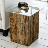 Regina Andrew Reclaimed wood & glass pedestal end table