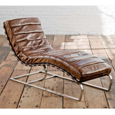 Regina Andrew Chaise Lounge. Vintage Brown Leather
