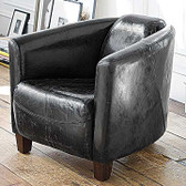 Regina Andrew Italian Black Crackle Leather Lounge Chair