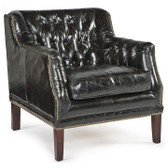 Regina Andrew Italian Black Leather Equestrian Chair