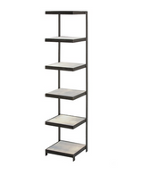 Six square antiqued mirror shelves are supported and framed by blackened iron bands. The cantilever design and size make this an ideal piece to store rolled towels in a bathroom, display stacked books, or use as a bar