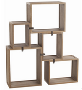 Five-piece wood modular shelving unit in washed oak finish and are connected with bronze clamps. Shelves are movable and can be assembled in several different ways.