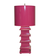 wow factor colorful hot pink table lamp ion the asian pagoda style