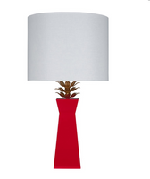 beautifully designed and bold red color accent lamp from worlds away with gold blsoom leaf accents
