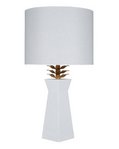 shiek white lacquer table lamp with gold blossom lea detail,transitional