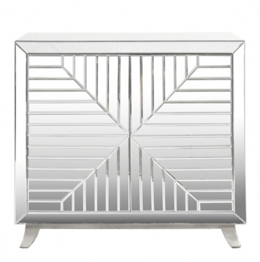 decostyle faceted mirror cabinet with silver leaf legs and base,by worlds away