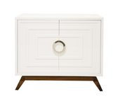 small scale modern white media cabinet with stained base and square nickel, handles,has adjustable shelves and two doors lacquered finish