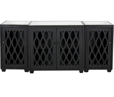 Large modern worlds-away media three piece cabinet in rubbed black finish,features a mirrored top