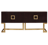 contemporary rosewood cabinet with gold square handles and gold base with two doors