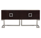 rosewood media cabinet on stainless steel base
