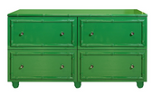 GREEN LACQUER 4 DRAWER DRESSER. DRAWERS ON GLIDES.
