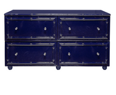 4 DRAWER NAVY LACQUER BAMBOO DRESSER.