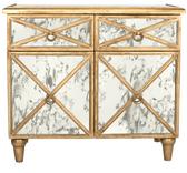 Gold leaf antique mirror crosshatch chest.