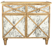 Gold leaf antique mirror crosshatch chest.