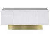 WHITE LACQUER WAVE DETAIL CONSOLE WITH BRUSHED BRASS BASE.